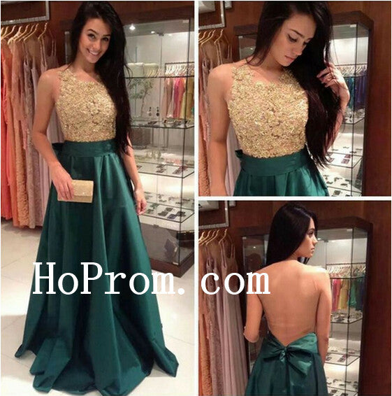 Gold Prom Dresses,Green Satin Prom Dress,Evening Dress