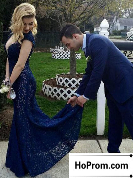Cap Sleeve Lace Navy Blue Prom Dress Evening Dresses