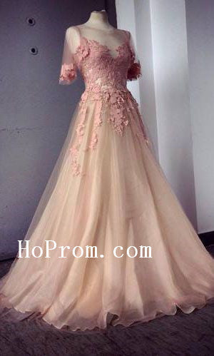 Short Sleeve Prom Dresses,Long Applique Prom Dress,Evening Dress