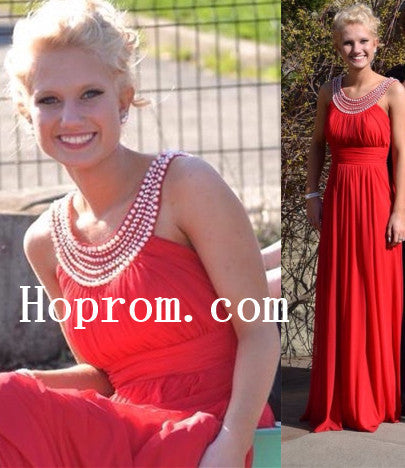 A-Line Red Prom Dresses,Chiffon Prom Dress,Evening Dress