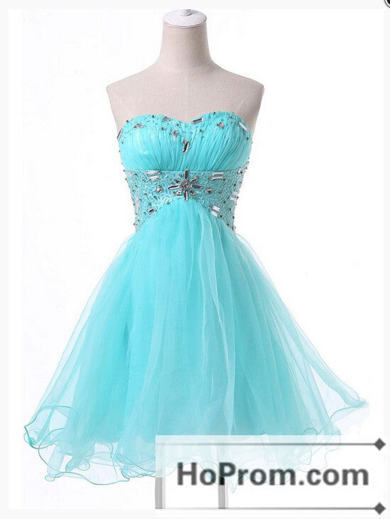 A-Line Tulle Beading Strapless Prom Dresses Homecoming Dresses