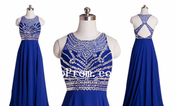 Cross Back Prom Dresses,Blue Prom Dress,Evening Dress