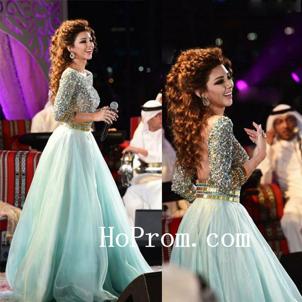 3/4 Sleeve Prom Dresses,Beading Prom Dress,Evening Dress