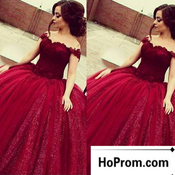 Off Shoulder Burgundy A-Line Prom Dress Evening Dresses