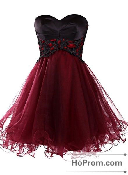 Black Applique Burgundy Tulle Prom Dresses Homecoming Dresses