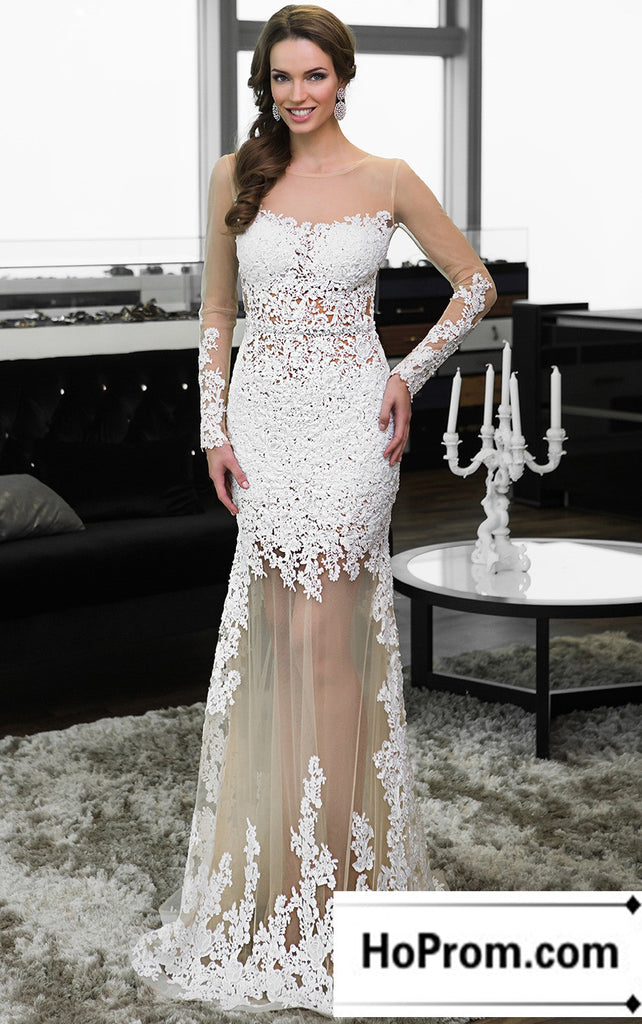 Long Sleeve White Applique Prom Dress Evening Dresses