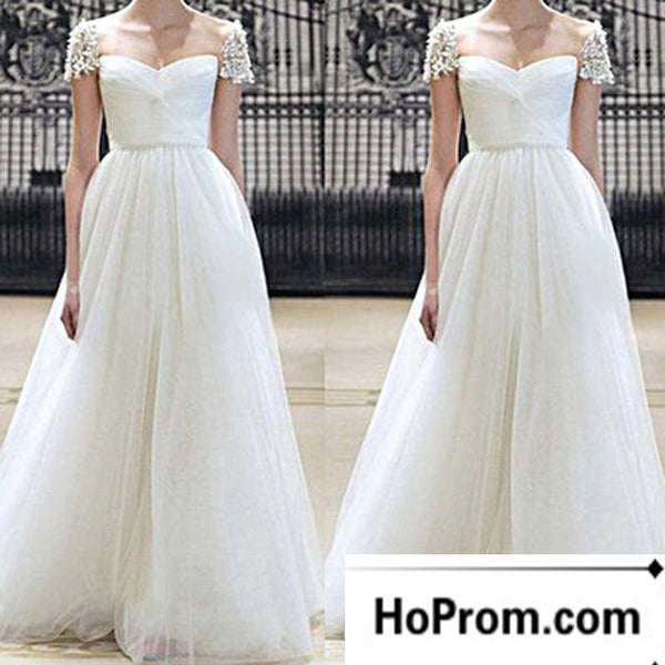 A-Line White Cap Sleeve Prom Dress Evening Dresses