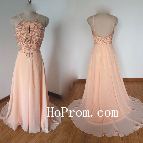 Popular Champagne Prom Dresses,Halter Prom Dress,Evening Dress