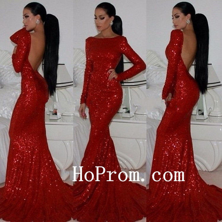 Red Sequin Prom Dresses,Floor Length Prom Dress,Evening Dress