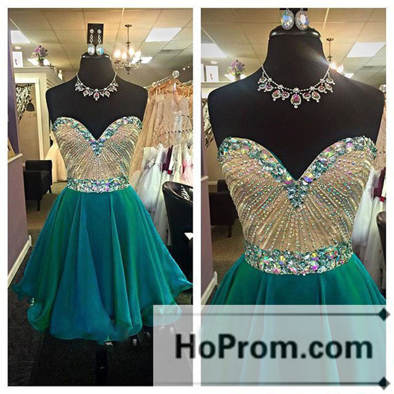 Sweetheart Green Beading Short Prom Dresses Homecoming Dresses