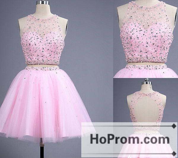 Two Piece Backless Pink Beading Prom Dresses Homecoming Dresses