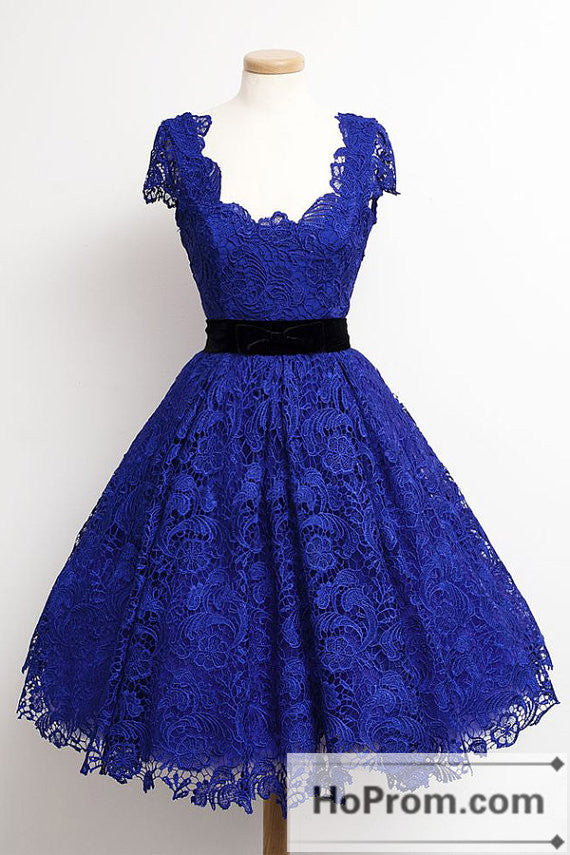 Lace Royal Blue Knee Length Prom Dresses Homecoming Dresses