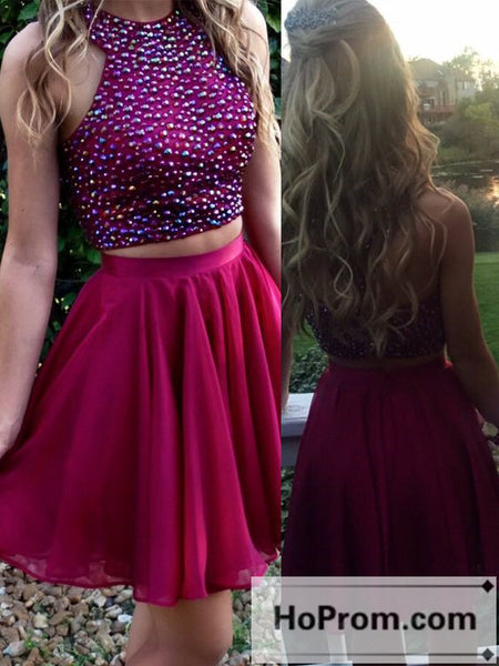 A-Line Purple Two Piece Prom Dresses Homecoming Dresses