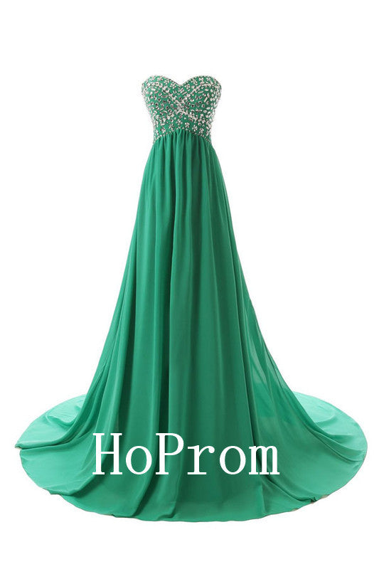 A-Line Green Prom Dresses,Strapless Prom Dress,Evening Dress
