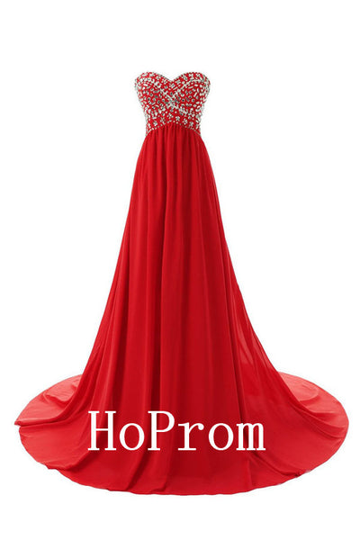 A-Line Red Prom Dresses,Strapless Prom Dress,Evening Dress