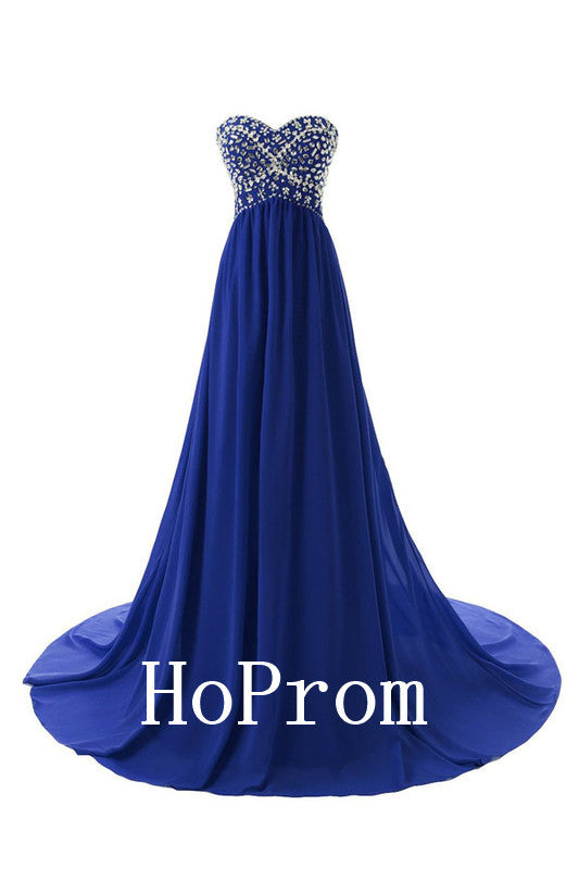 A-Line Blue Prom Dresses,Strapless Prom Dress,Evening Dress