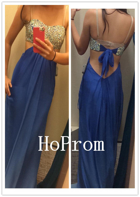 Strapless Beads Prom Dresses,Royal Blue Prom Dress,Evening Dress