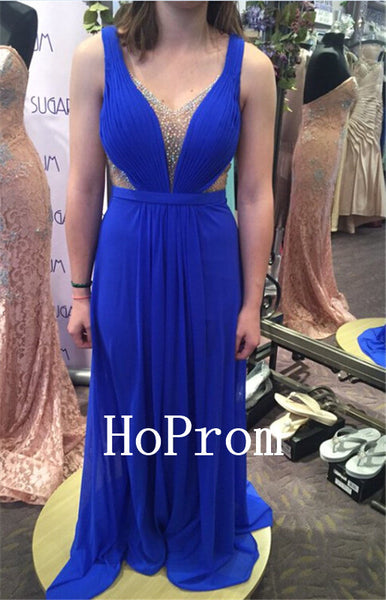 Sleeveless Prom Dresses,Royal Blue Prom Dress,Evening Dress