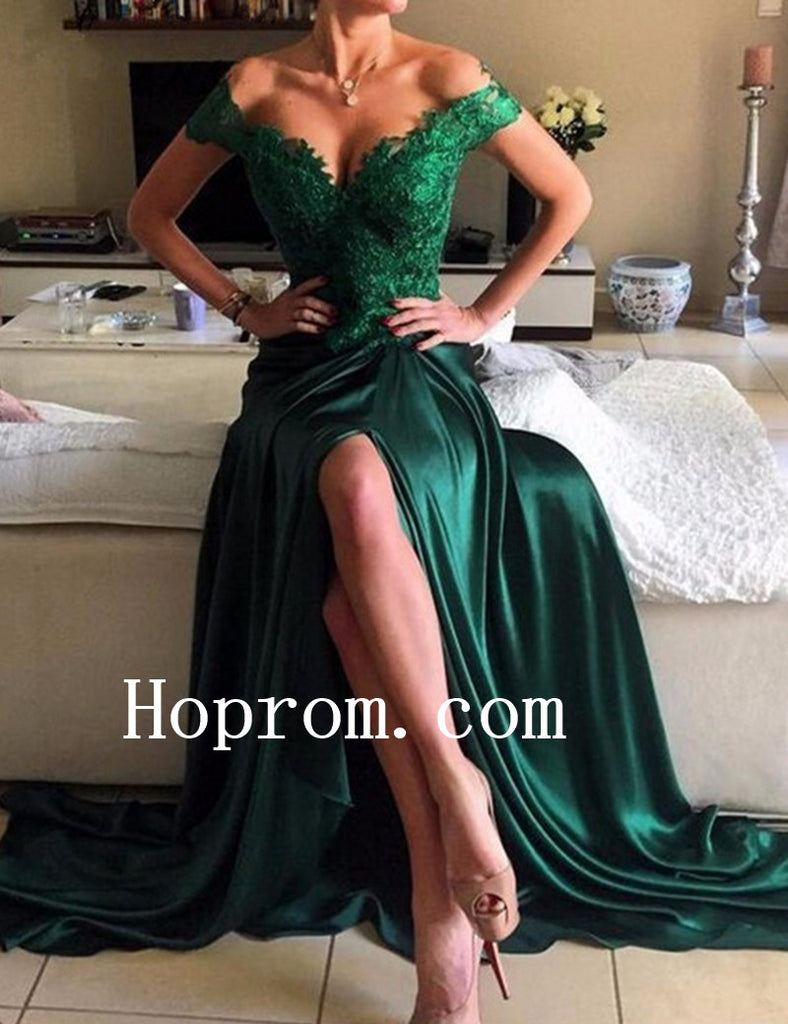 Off Shoulder Prom Dresses,Backless Green Prom Dress,Evening Dress