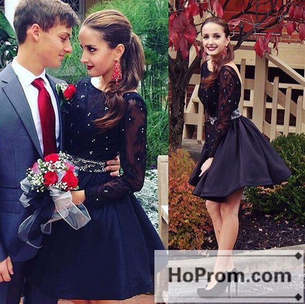 Backless Long Sleeve Short Lace Prom Dresses Homecoming Dresses