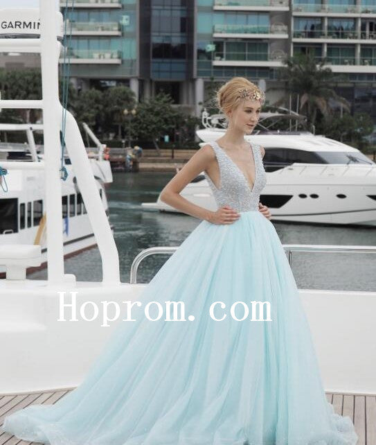 V-Neck Beaded Prom Dresses,Backless Prom Dress,Evening Dress