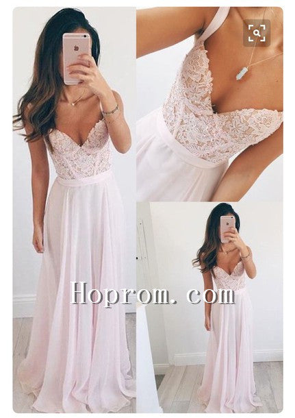 2020 A-Line Pink Straps Chiffon Prom Dress Evening Dresses
