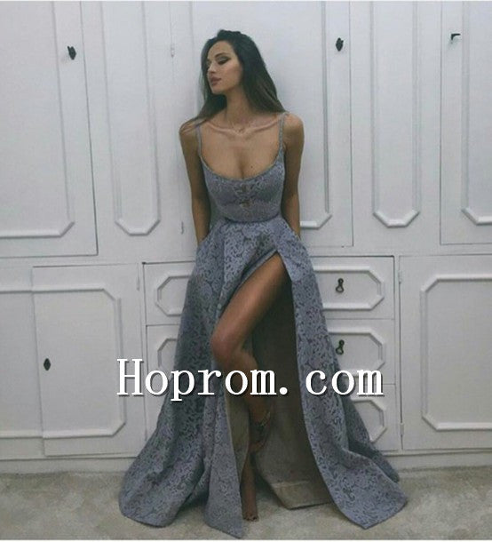 2020 Spaghetti Straps Grey Lace Prom Dress Evening Dresses