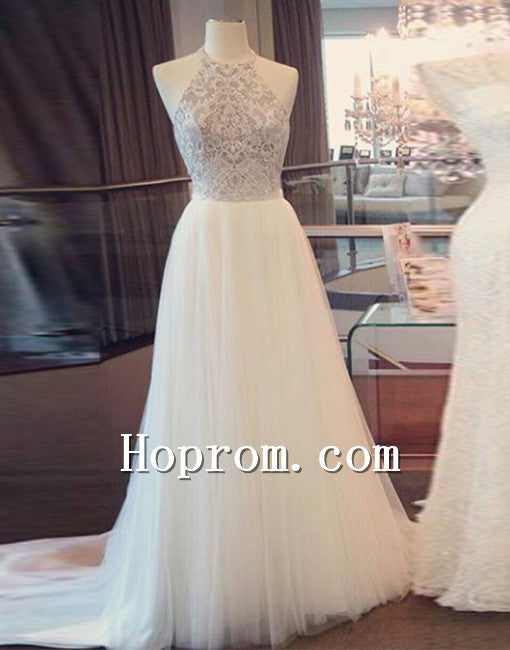 2020 A-Line Halter White Prom Dress Evening Dresses