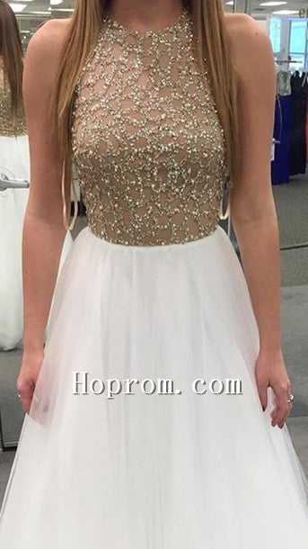 2020 Beading Sleeveless A-Line Prom Dress Evening Dresses