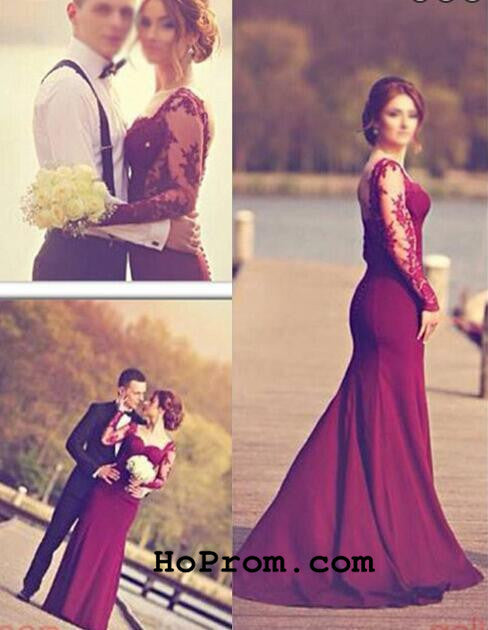 Long Sleeve Prom Dresses Mermaid Prom Dresses Backless Evening Dress
