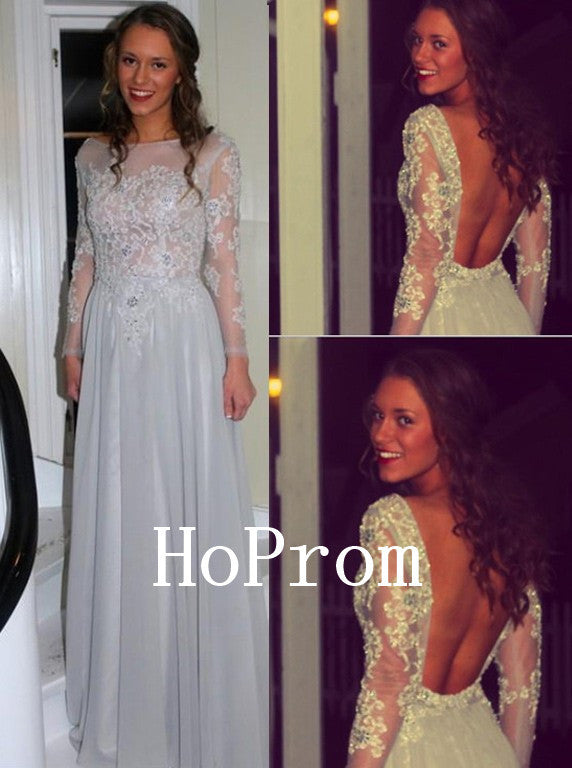 Applique Backless Prom Dresses,Long Sleeve Prom Dress,Evening Dress