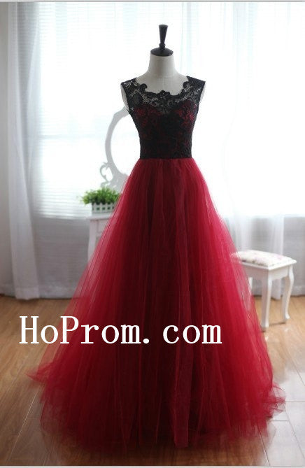 Black Lace Prom Dresses,Red Chiffon Prom Dress,Long Evening Dress
