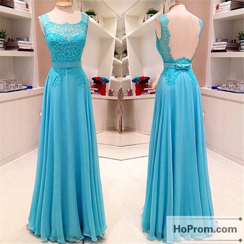 Backless Sleeveless Blue A-Line Prom Dresses Evening Dresses