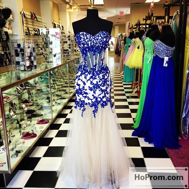 Sweetheart Royal Blue Beaded Prom Dresses Evening Dresses