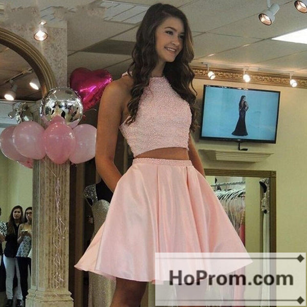 Two Piece Short Satin Pink Prom Dresses Homecoming Dresses