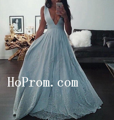 Deep V-Neck Prom Dresses,Sleeveless Prom Dress,Evening Dress