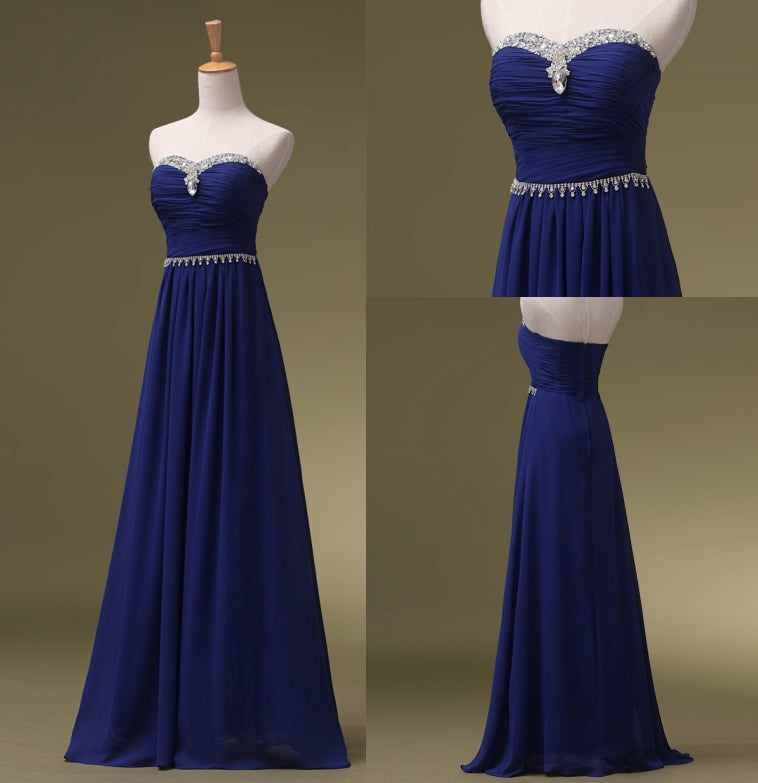 Crystal Long Prom Dresses,Sweetheart Prom Dress,Evening Dresses