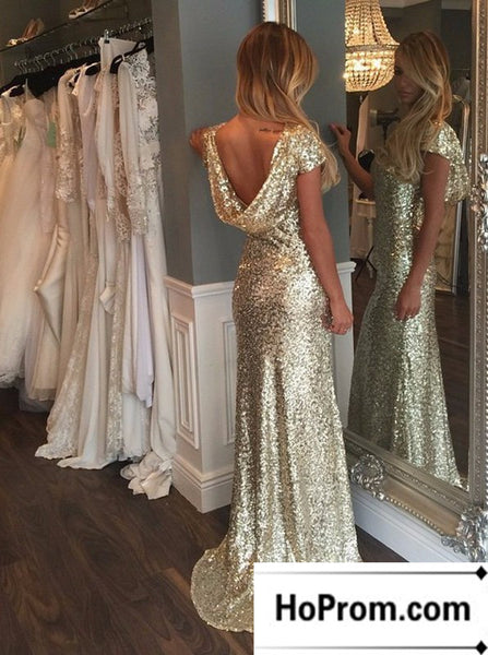Gold Sequins Cap Sleeves Prom Dress Evening Dresses