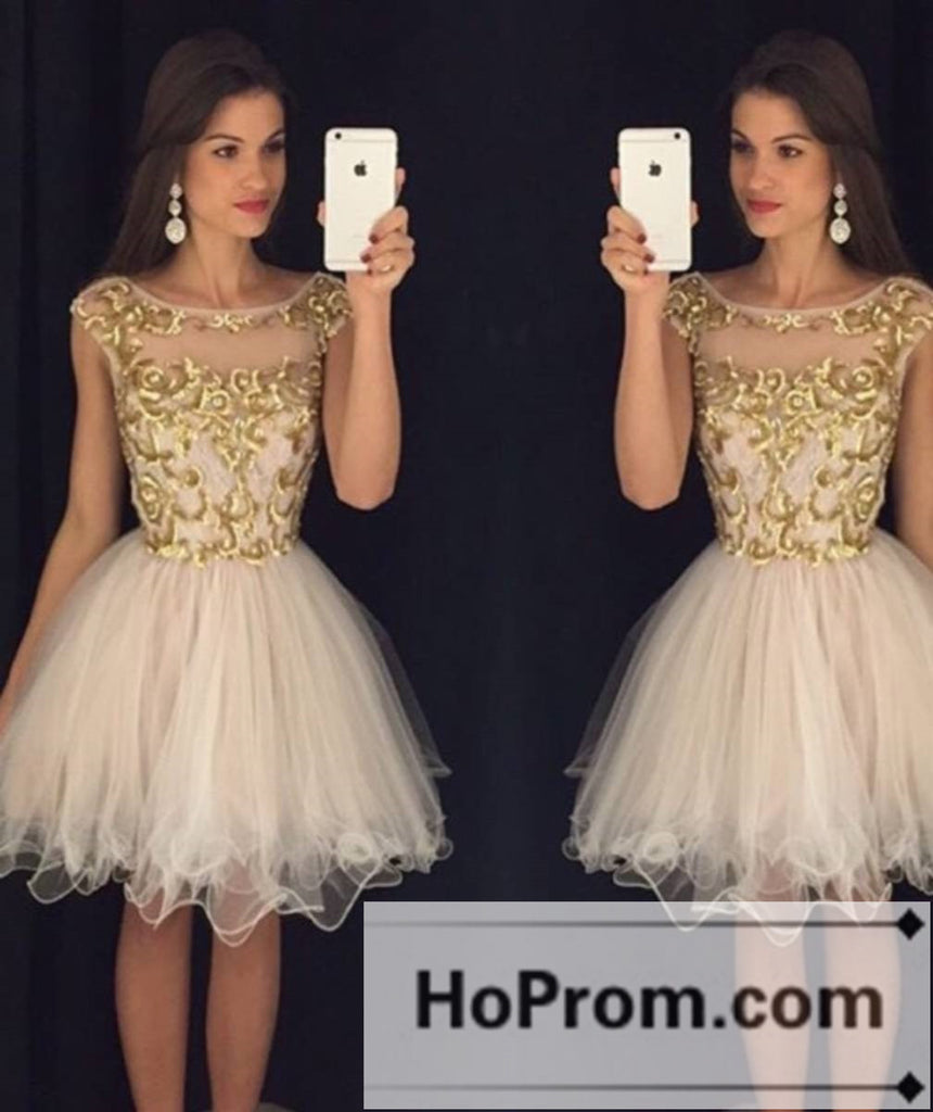 Gold Applique Short Tulle Prom Dresses Homecoming Dresses