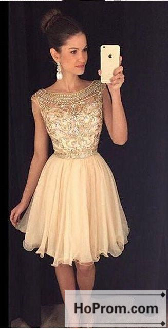 Gold Sequins Short Tulle Prom Dresses Homecoming Dresses