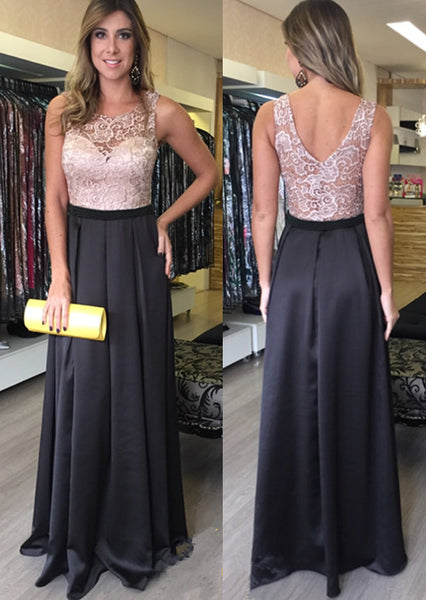 Black Satin Sleeveless Lace Prom Dresses Evening Dress