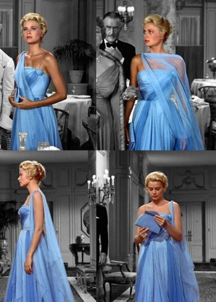 Grace Kelly as Frances Stevens Blue Dress Formal Prom Dress in To Catch a Thief