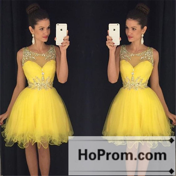 Sleeveless Short Yellow Organza Prom Dresses Homecoming Dresses