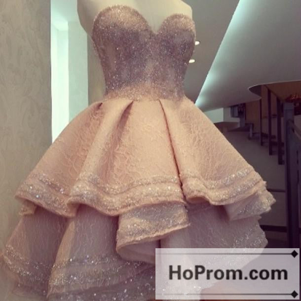 Sweetheart Short A-Line Pink Prom Dresses Homecoming Dresses
