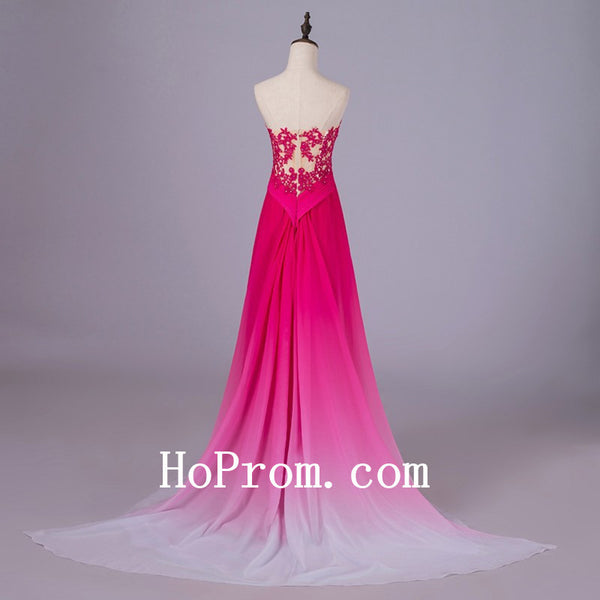 Hot Pink Prom Dresses,Strapless Prom Dress,Evening Dress