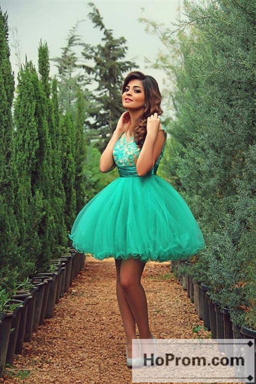 A-Line Green Short Prom Dresses Homecoming Dresses