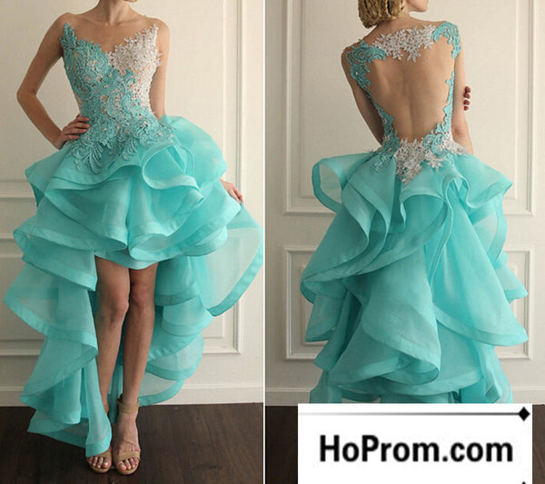 Backless Sleeveless High Low Ruffles Prom Dress Evening Dresses