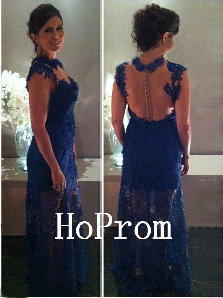 Royal Blue Prom Dresses,Lace Prom Dress,Evening Dress