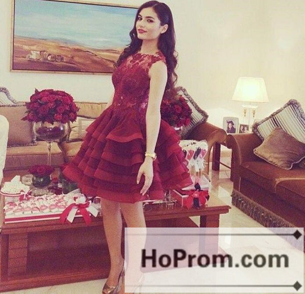 Sleeveless Red Lace Short Prom Dresses Homecoming Dresses