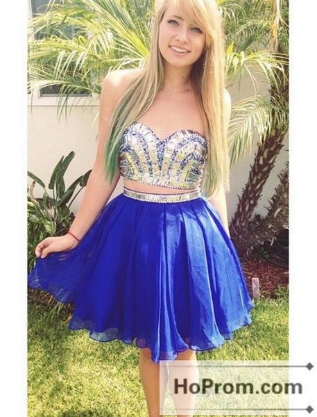 Strapless Royal Blue Two Piece Prom Dresses Homecoming Dresses